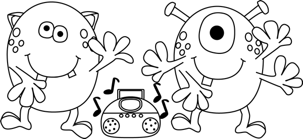 Black And White Dancing Monsters Clip Art Black And White Dancing Monsters Image Monster Coloring Pages Old School Tattoo Designs Clip Art