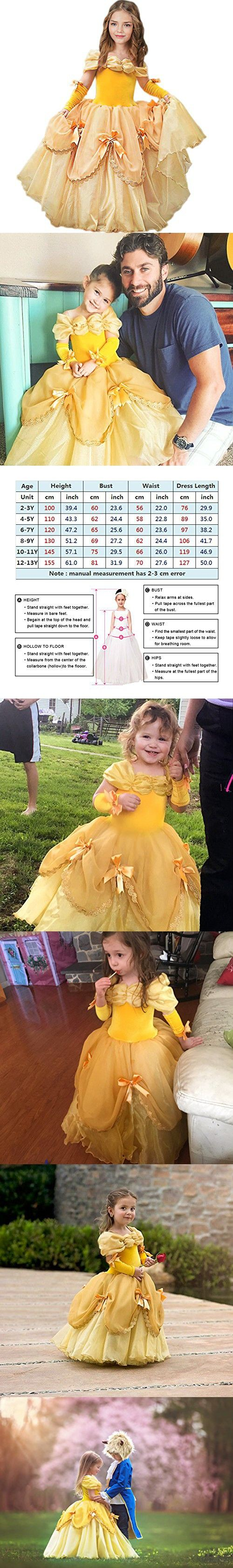 CQDY Belle Costume for Girls Yellow Princess Dress Party Christmas Halloween Cosplay Dress up 2-13 Years