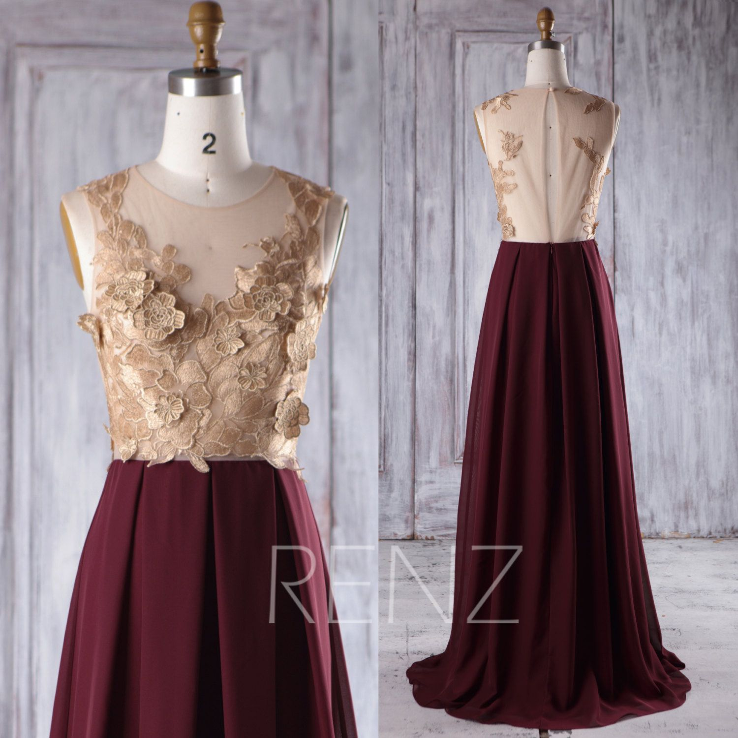 Rose gold lace bridesmaid dress long maroon chiffon wedding dress