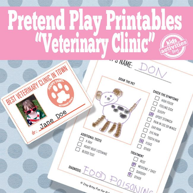 Pretend Play Vet S Office With Free Printable Dramatic Play Preschool Kids Pretend Play Kids Playing