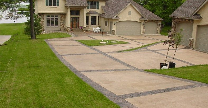 Pin By Concrete Network On Sidewalk Ideas Concrete Driveways Stained Concrete Driveway Stamped Concrete Cost