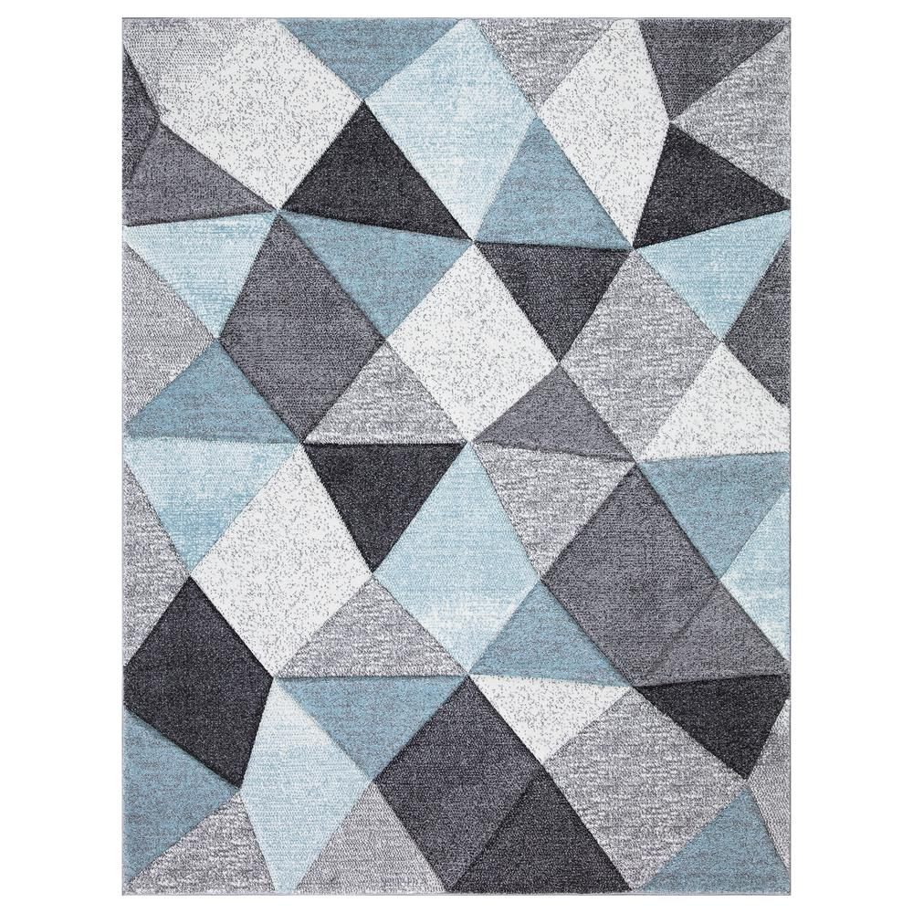 Stylewell Dilaria Blue Multi Color 5 Ft X 7 Ft Geometric Hand