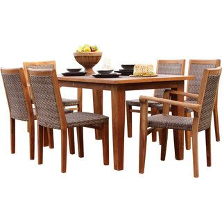 Panama Jack Leeward Islands Natural Teak 7 Piece Dining Set By Panama Jack