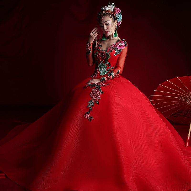 Red long sleeve Luxury Bridal Chinese-style Wedding Dresses 2016 ...