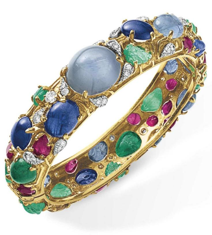 A diamond and multi-gem bangle bracelet - Designed as a hinged ...