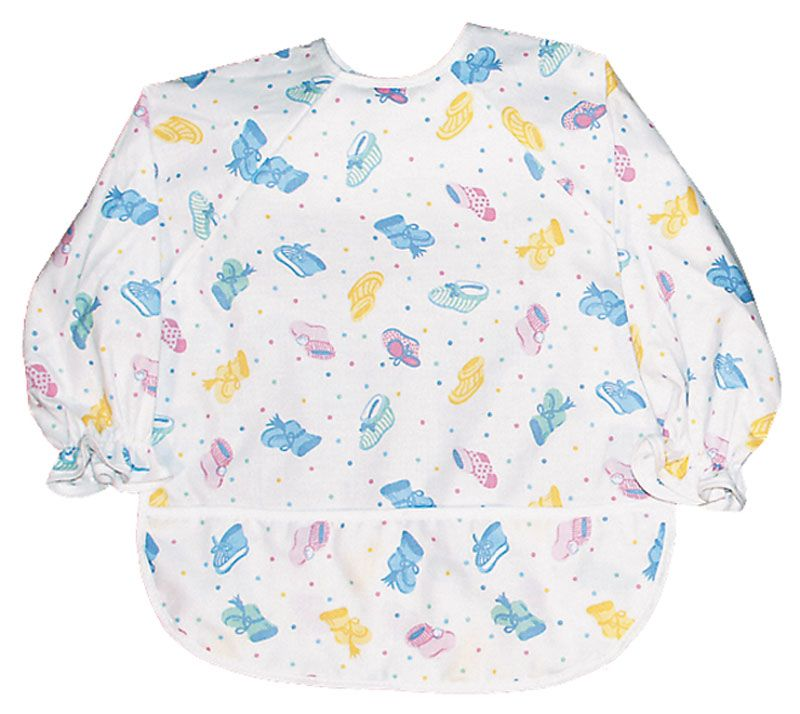 bib with sleeves--love the ruffled hem on the sleeves, would be cute ...