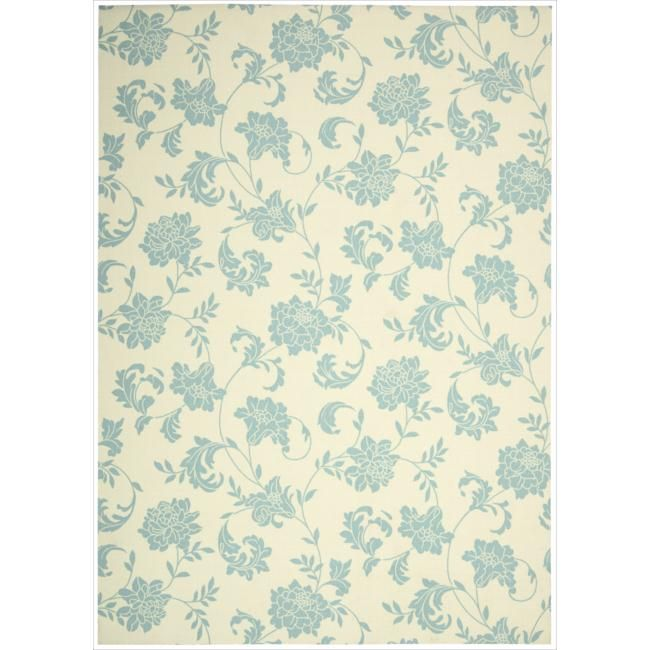 Nourison Home and Garden Ivory Indoor/Outdoor Rug (7'9 x 10'10) (1), Blue (Polyester, Floral)