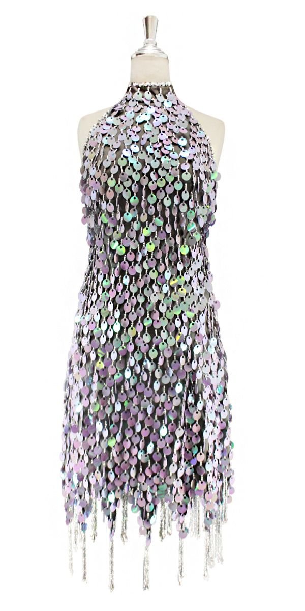 5a554a921c8e A short handmade sequin dress, in rectangular iridescent green paillette  sequins with silver faceted beads, a luxe grey fabric background and  jagged, ...