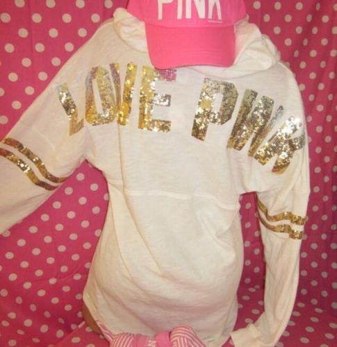 Victorias Secret Pink Sequins Bling Gold Varsity Hoodie Sweatshirt ...