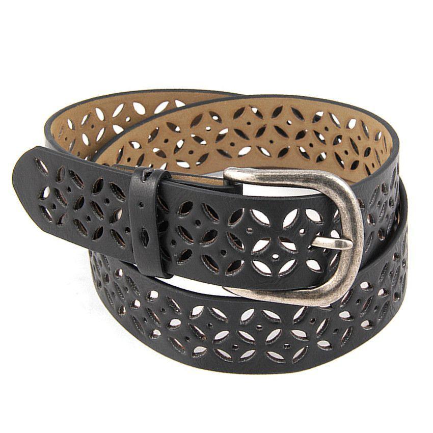 Perforated Laser Cut Design Jean Fashion Belt
