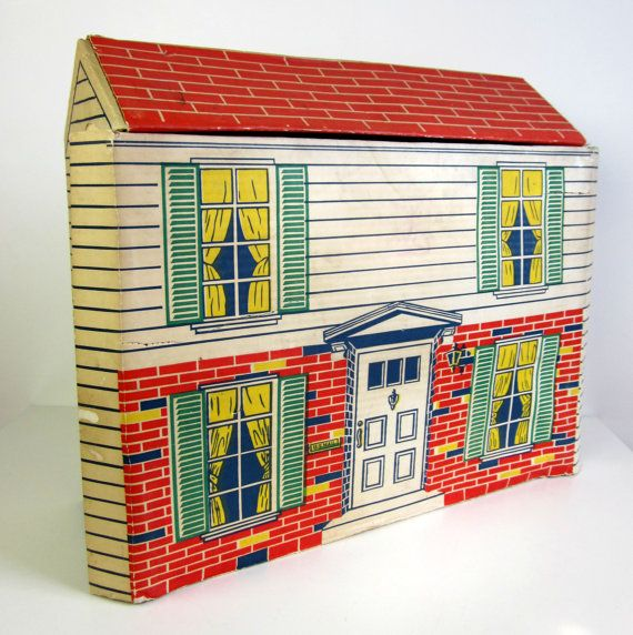 Marx Cardboard Fold-Up Suitcase Dollhouse with Furniture 1968.
