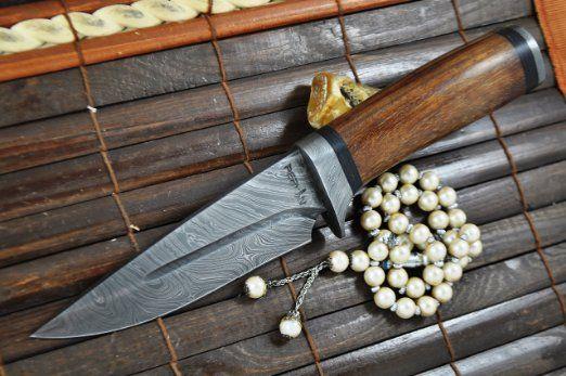 Big Sale- Custom Handmade Damascus Hunting Knife - Beautiful Bowie Knife