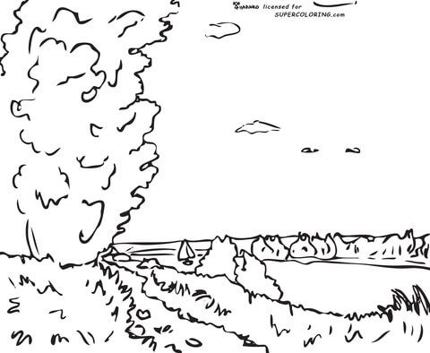 Hill Path By Alfred Sisley Coloring Page From Famous Paintings