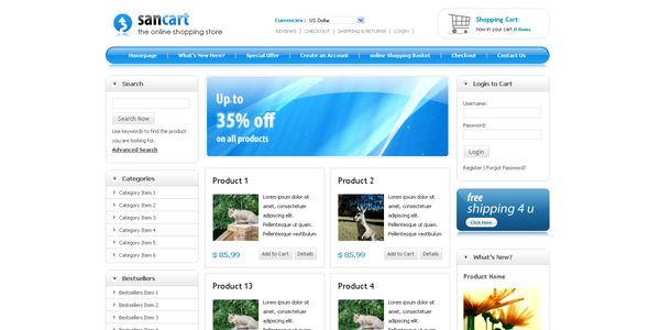 Sancart html shopping cart template   Template
