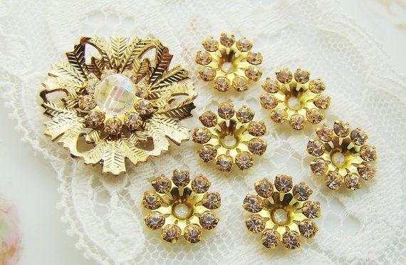 5d0348d1a3cd Vintage Swarovski Crystal Peach Pink Rhinestone Flowers Rondelles 11mm - 6