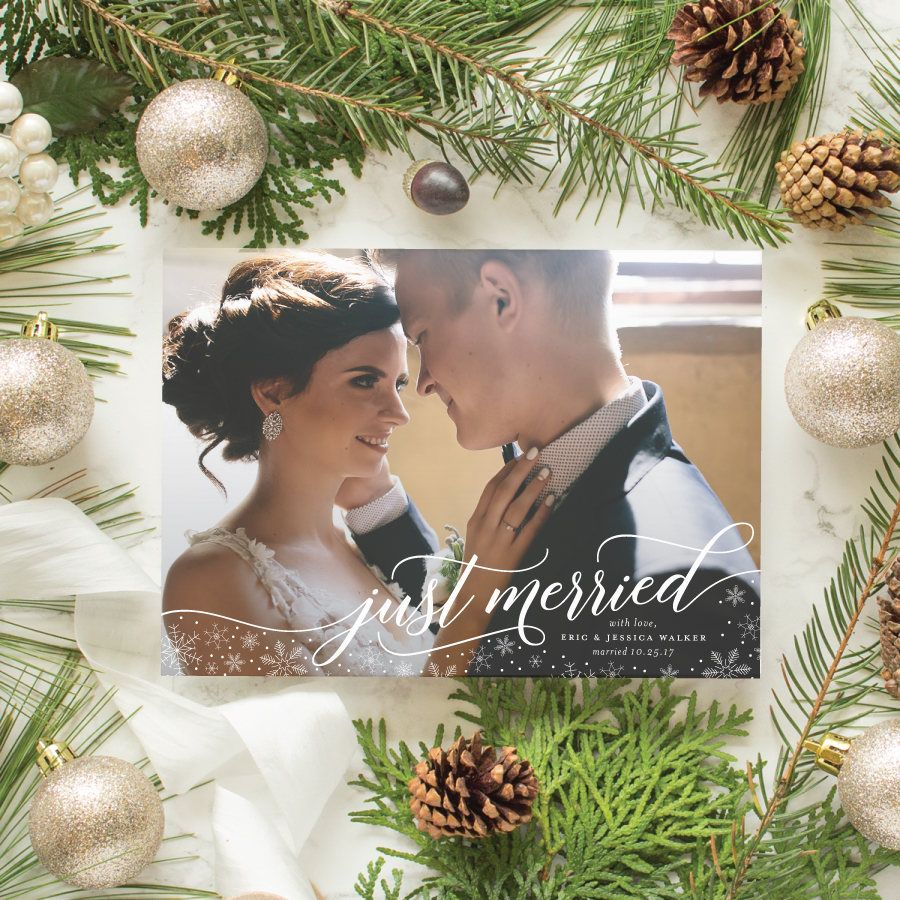 Newlywed First Christmas Card, Just Married Holiday Cards with ...