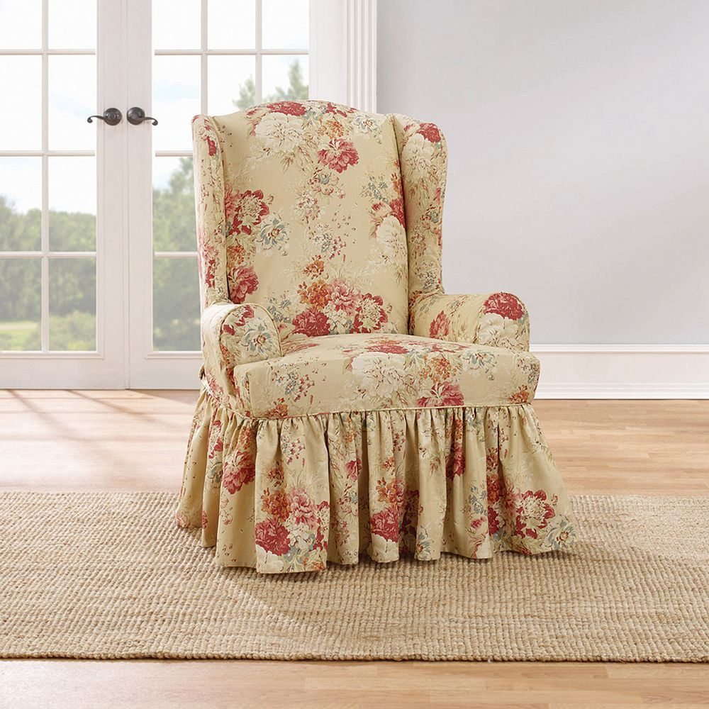 Sure Fit Waverly Ballad Bouquet Wing Chair Slipcover Slipcovers