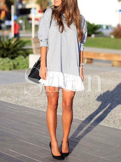 Grey White Color Block Dress -SheIn(Sheinside) Mobile Site