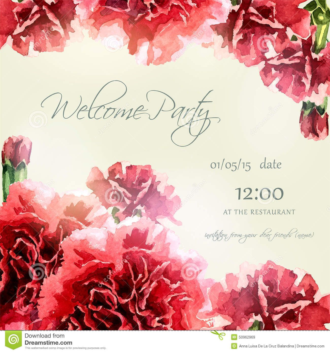 Invitation Card With Watercolor Carnation Frame - Download From Over ...
