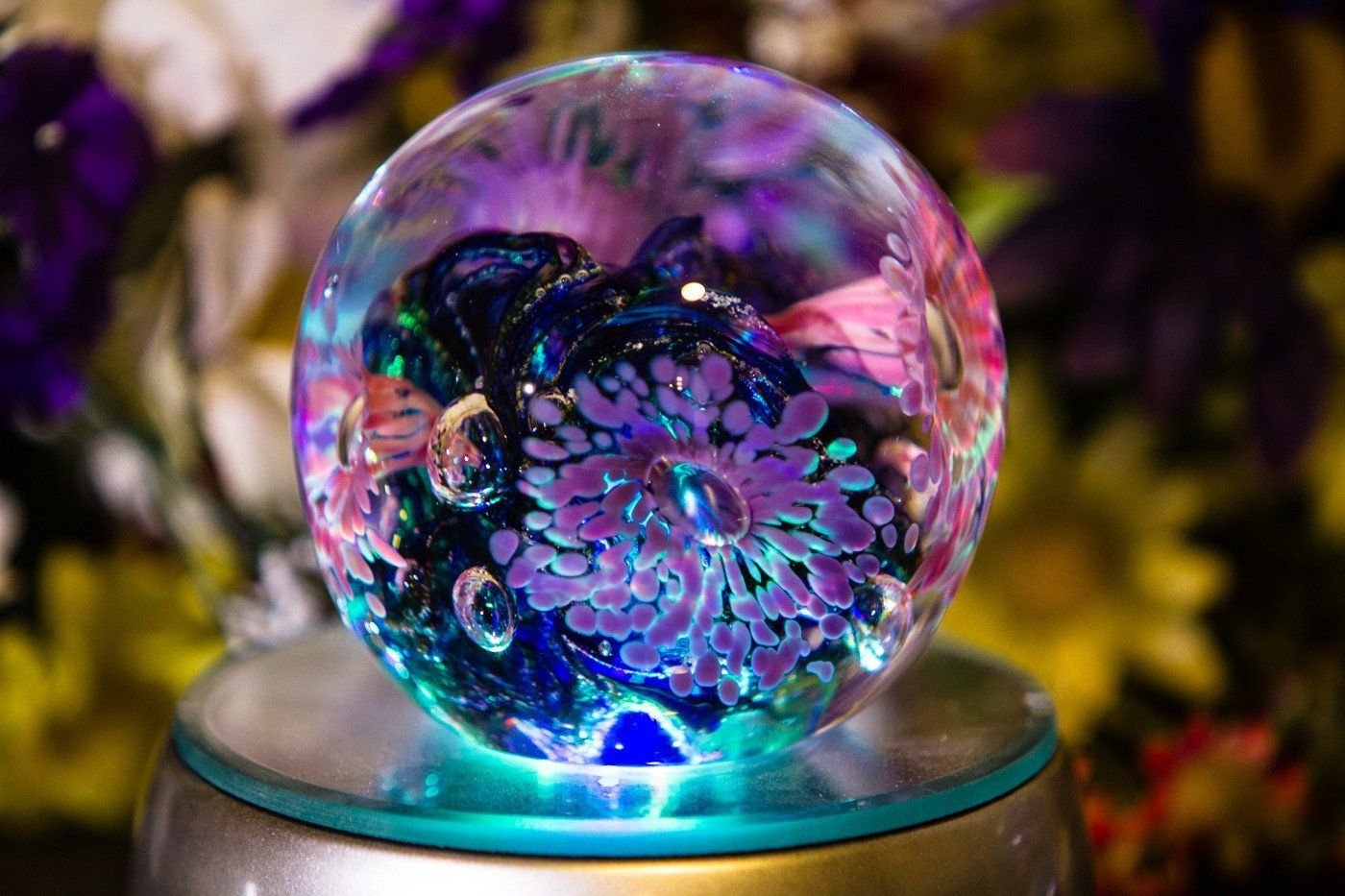 Illuminated Flower Explosion with Infused Cremation Ashes
