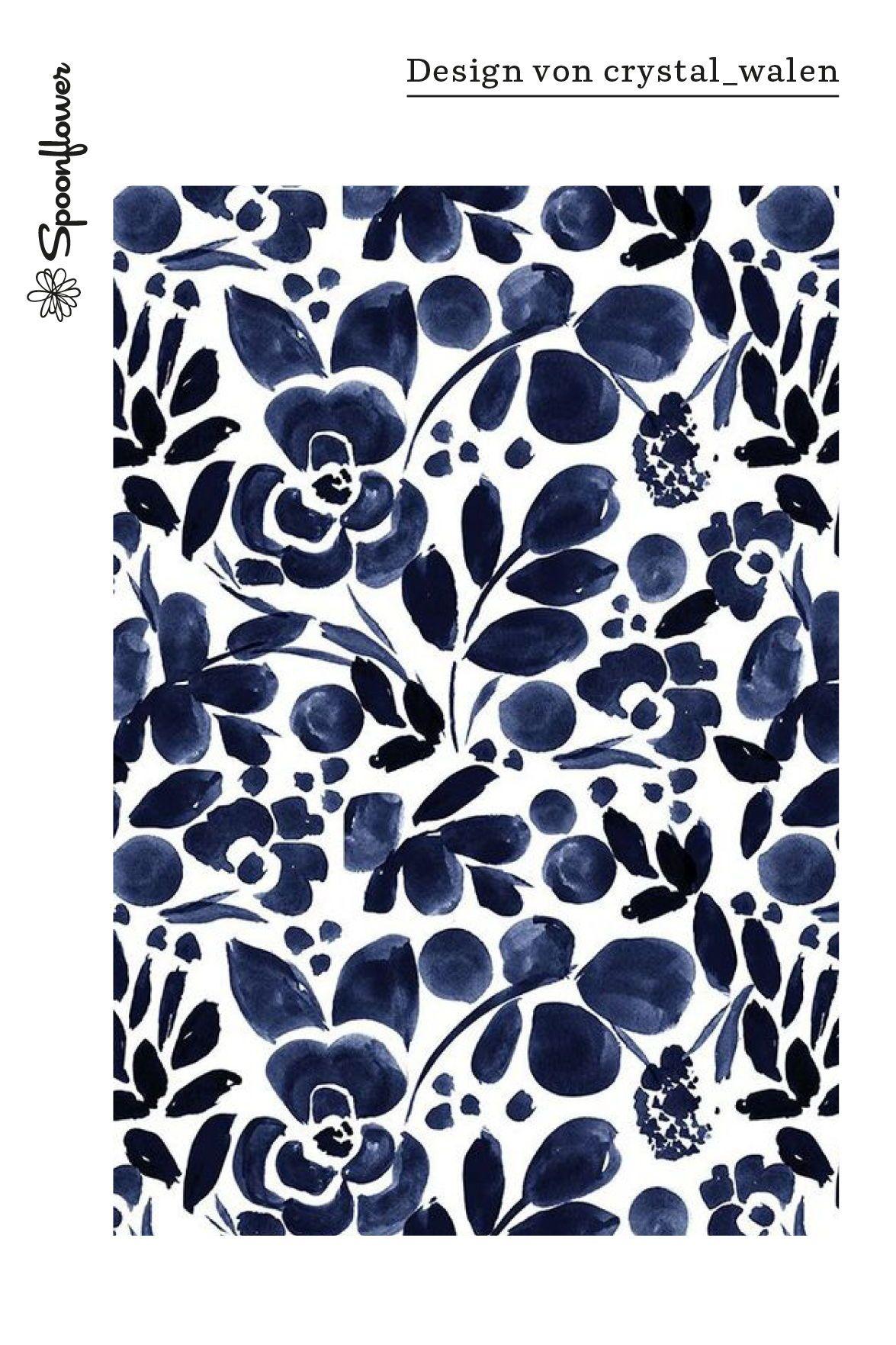Stoff Meterware Wasserfarben Blumen Blau Aquarell Blumen Stoffe Stoff Design Wasserfarben