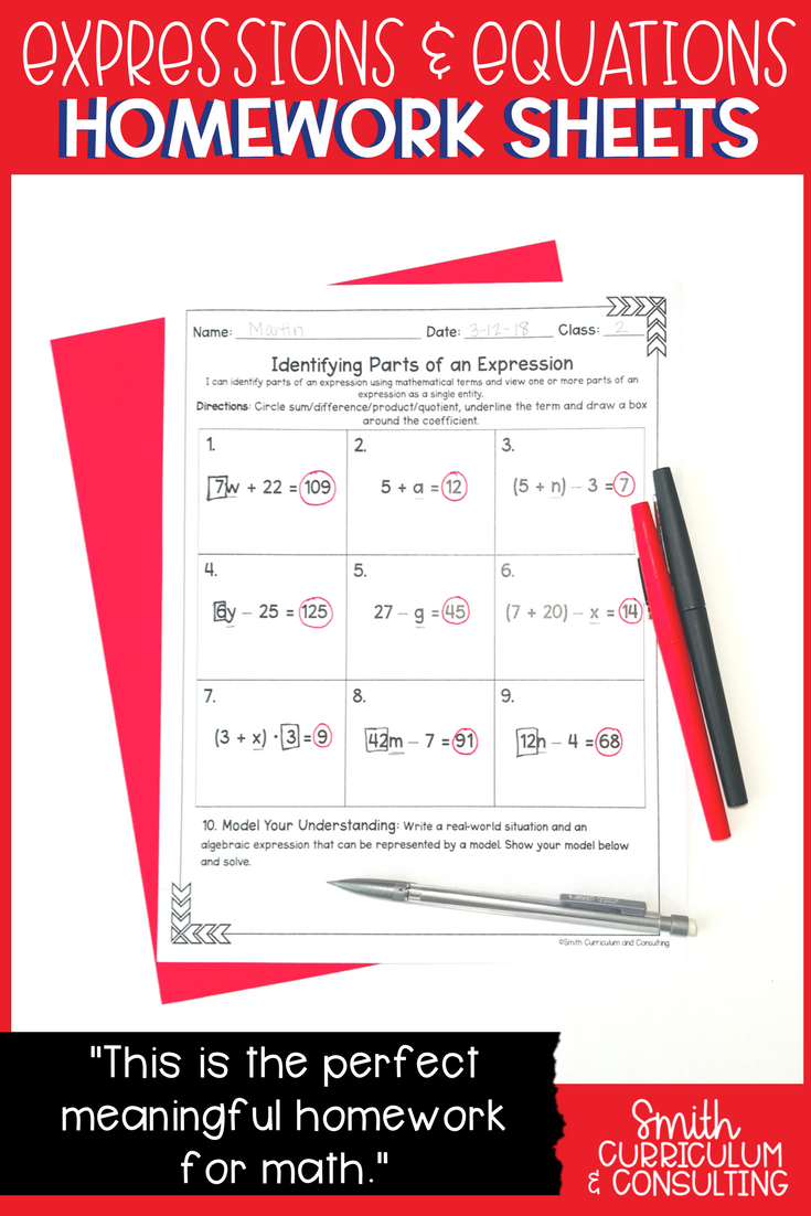 3 6th Grade Math Test Printable with Answer Key Sixth Grade Math Homework Sheets Expressions