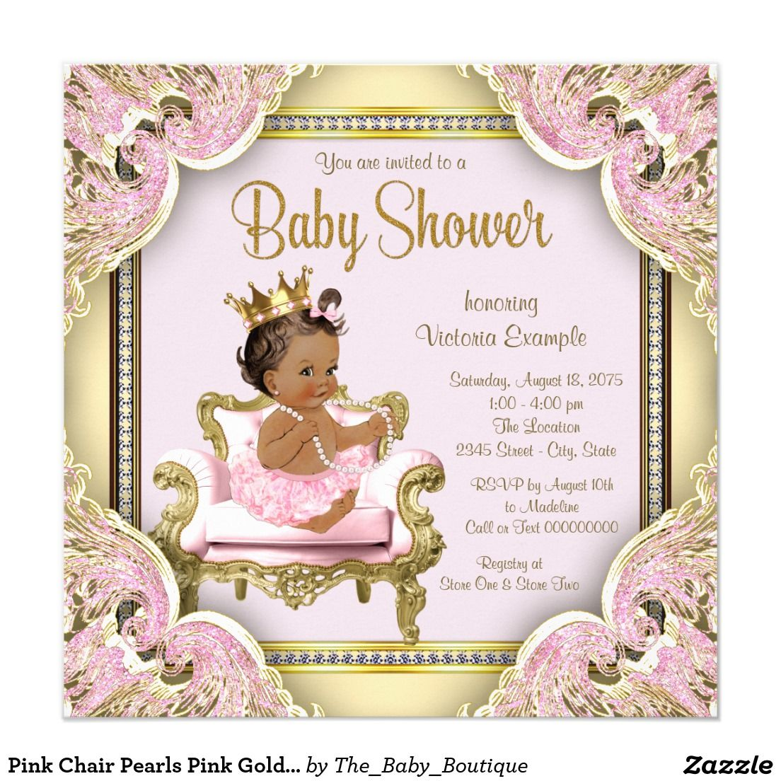 Pink chair pearls pink gold ethnic baby shower invitation ethnic pink chair pearls pink gold ethnic baby shower invitation princess filmwisefo