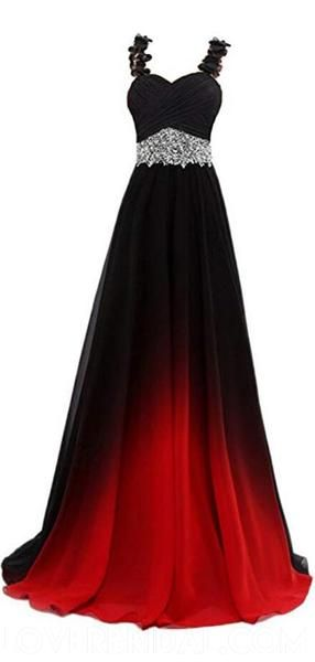Lace Straps Beaded Ombre Cheap Long Evening Prom Dresses, Custom Sweet16 Dresses, 18396
