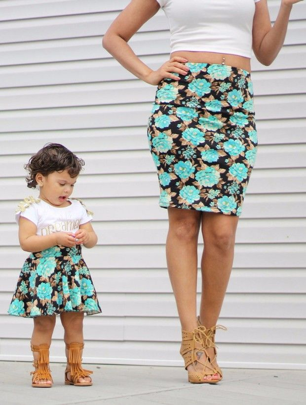 21f698c172ef Mommy and Me Matching Skirts - Turquoise Flowers. A pencil skirt for mom  and a flowy circle skirt for baby girls
