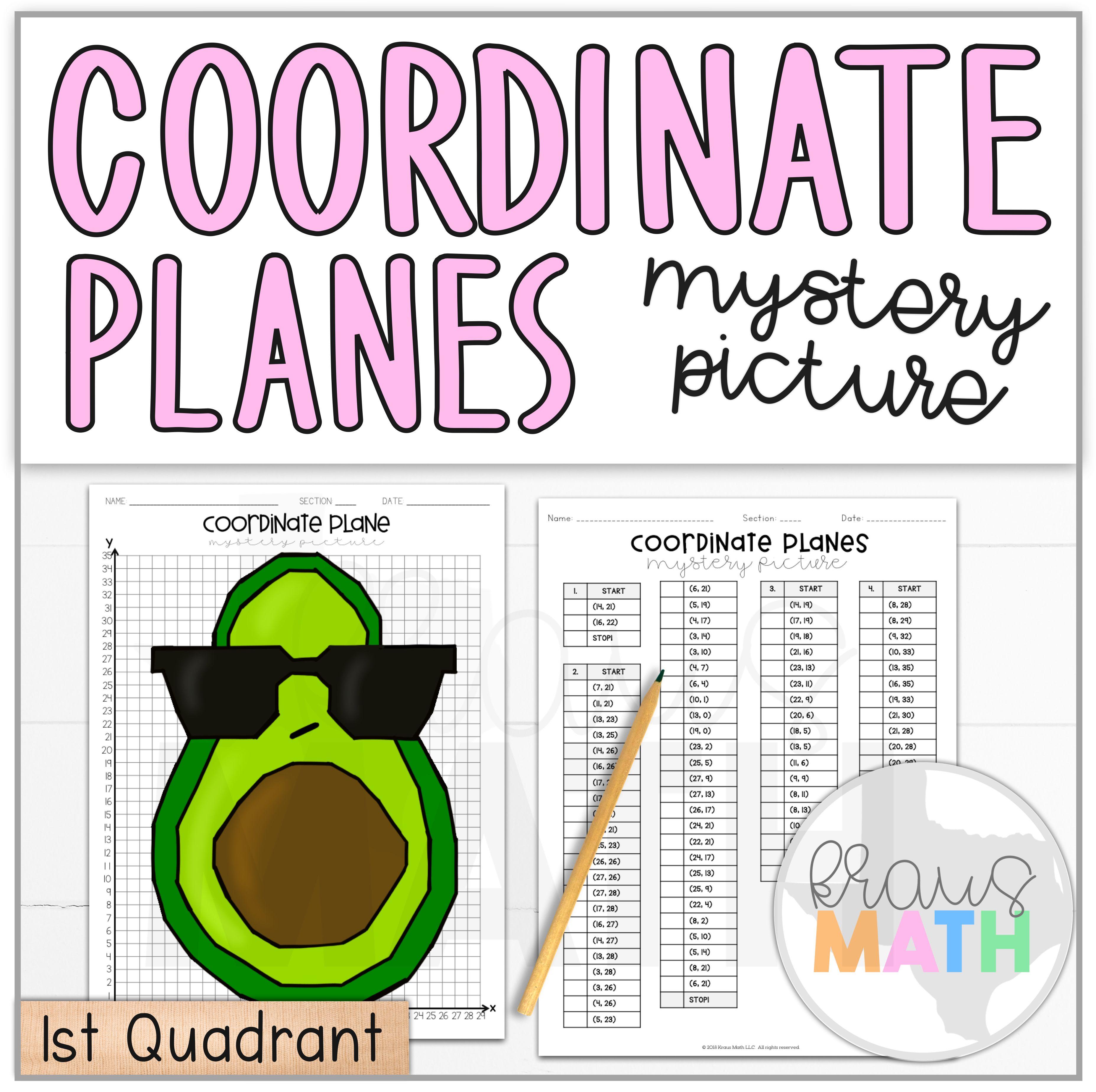 Avocado In Sunglasses Coordinate Plane Activity 1st