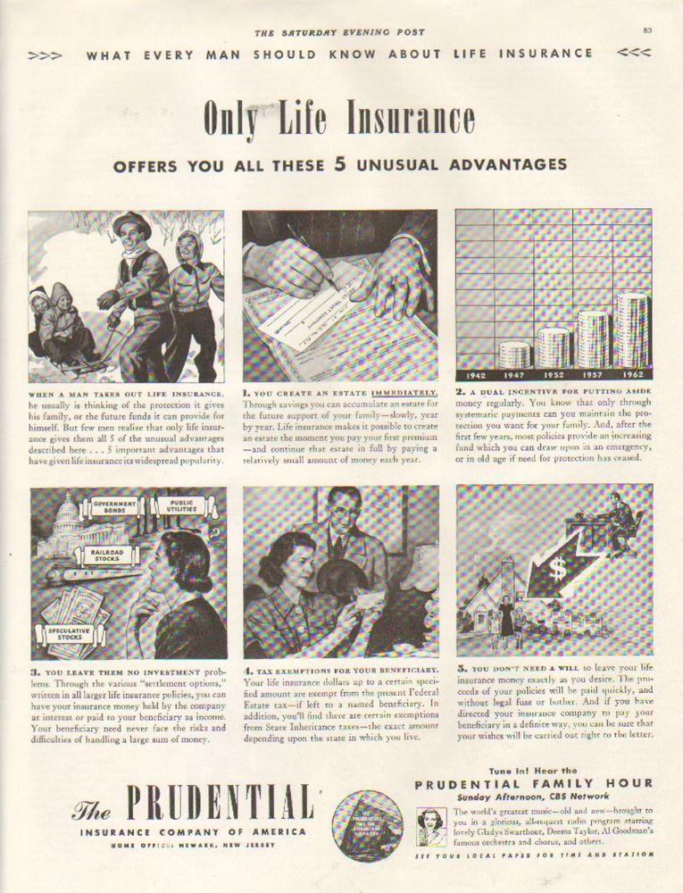 1942 Vintage The Prudential Only Life Insurance Offers You All 5