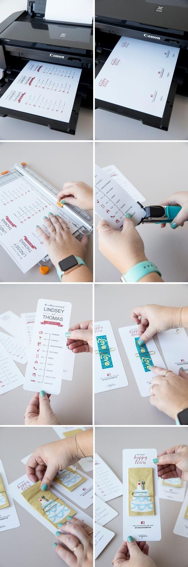 Edite e imprima sus propios programas de bodas en la línea de tiempo con un lindo pañuelo de boda.