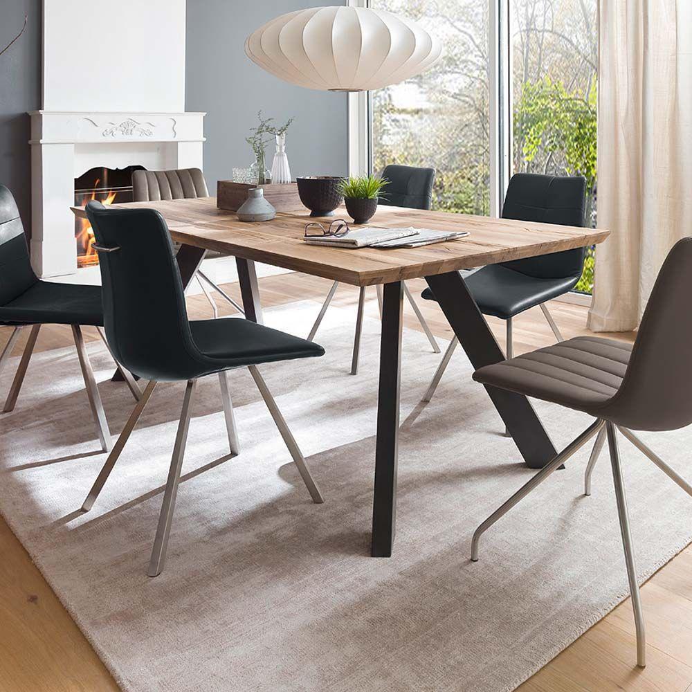 Esszimmertisch im Loft Style Wildeiche Massivholz Metallgestell ...