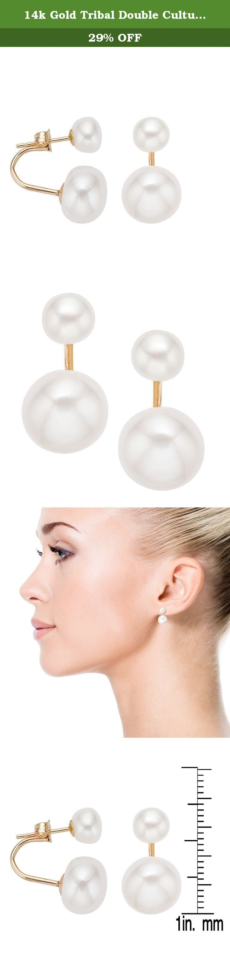 14k Gold Tribal Double Cultured Pearl Earrings with Gift Box. Each of these earrings features a brilliant freshwater pearl with a tribal fashion design. The earrings are available in 14-karat yellow.