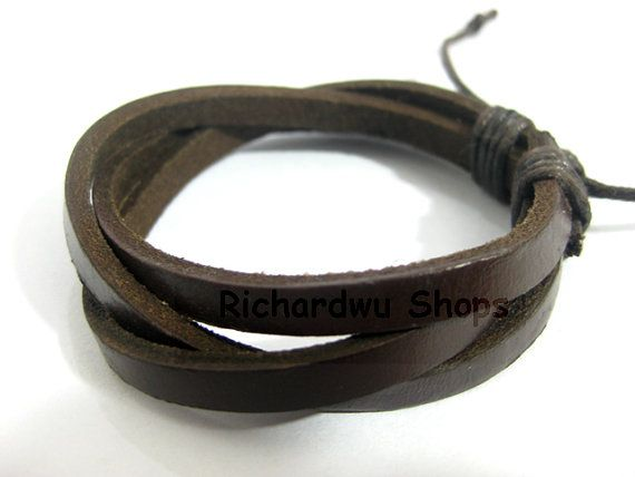 Man leather bracelet made by three brown leather  L30 by Richardwu