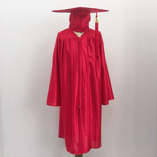 519132689e Children graduation gown in shiny red Children graduation cap tassel in red