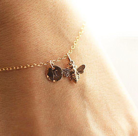 Gold Initial Charm Bracelet Honey Bee Custom Personalized Jewelry Hand Stamped 14k Go