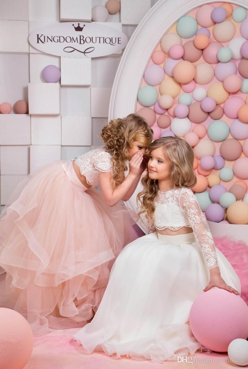 5dc4165a6eaa 2016 Two Pieces Ruffles Flower Girls Dresses For Weddings Cheap ...
