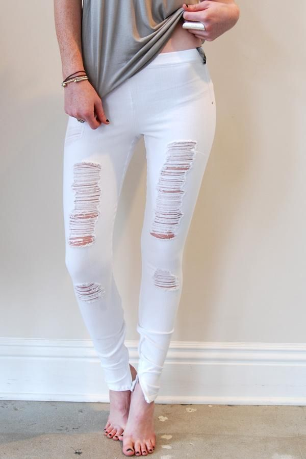 HUE Women's Ripped Knee Denim Skimmer Leggings, White, L. HUE ripped knee denim skimmer leggings offer a rugged yet trendy look with naturally placed rips at the knees and thigh. Stores are responsible for providing Bizrate with correct and current prices. Sales taxes and shipping costs are estimates; please check store for exact amounts.