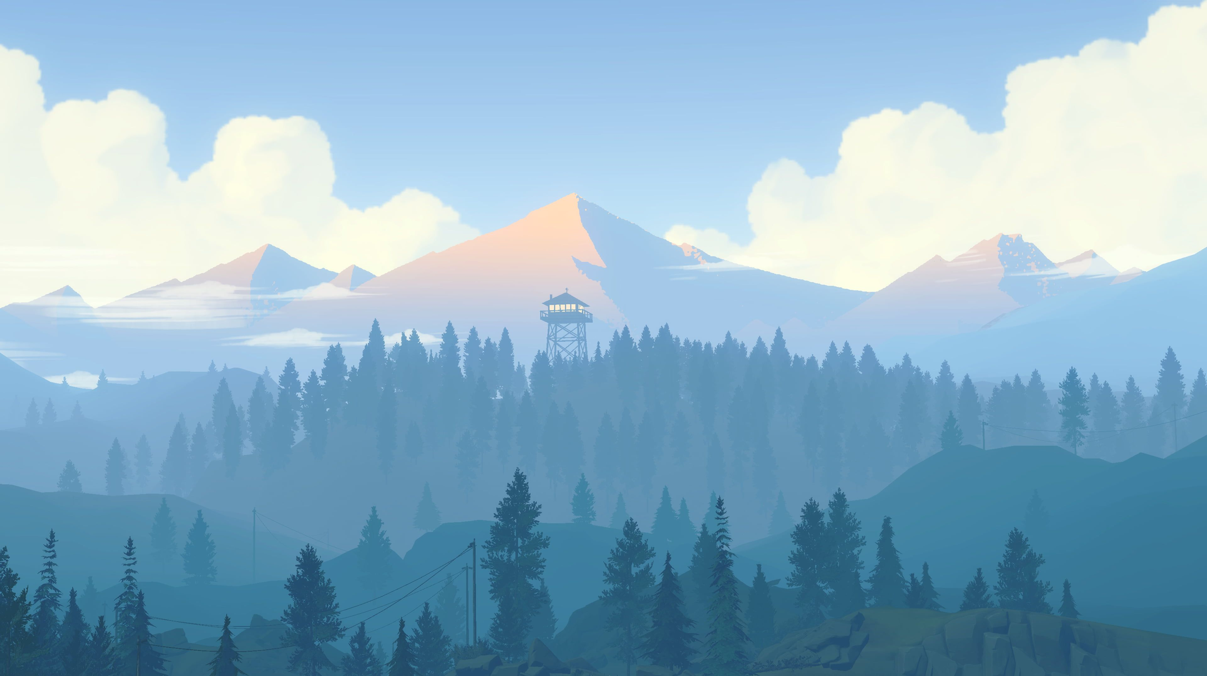 Illustration Of Mountains Surrounded By Trees Under White Clouds Mountains Forest Artwork Firewatch Cyan 4k Wall Mountain Wallpaper Firewatch Background
