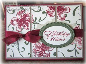 handmade birthday card ... split panel design ... flowers and label stamped first ... then masked while the flourishes were stamped ... panel cut apart andatt achted to mat panel ... seam binding ribbon  ... embossing folder frame for sentiment ... lovely old -world charm  ... Stampin' Up!