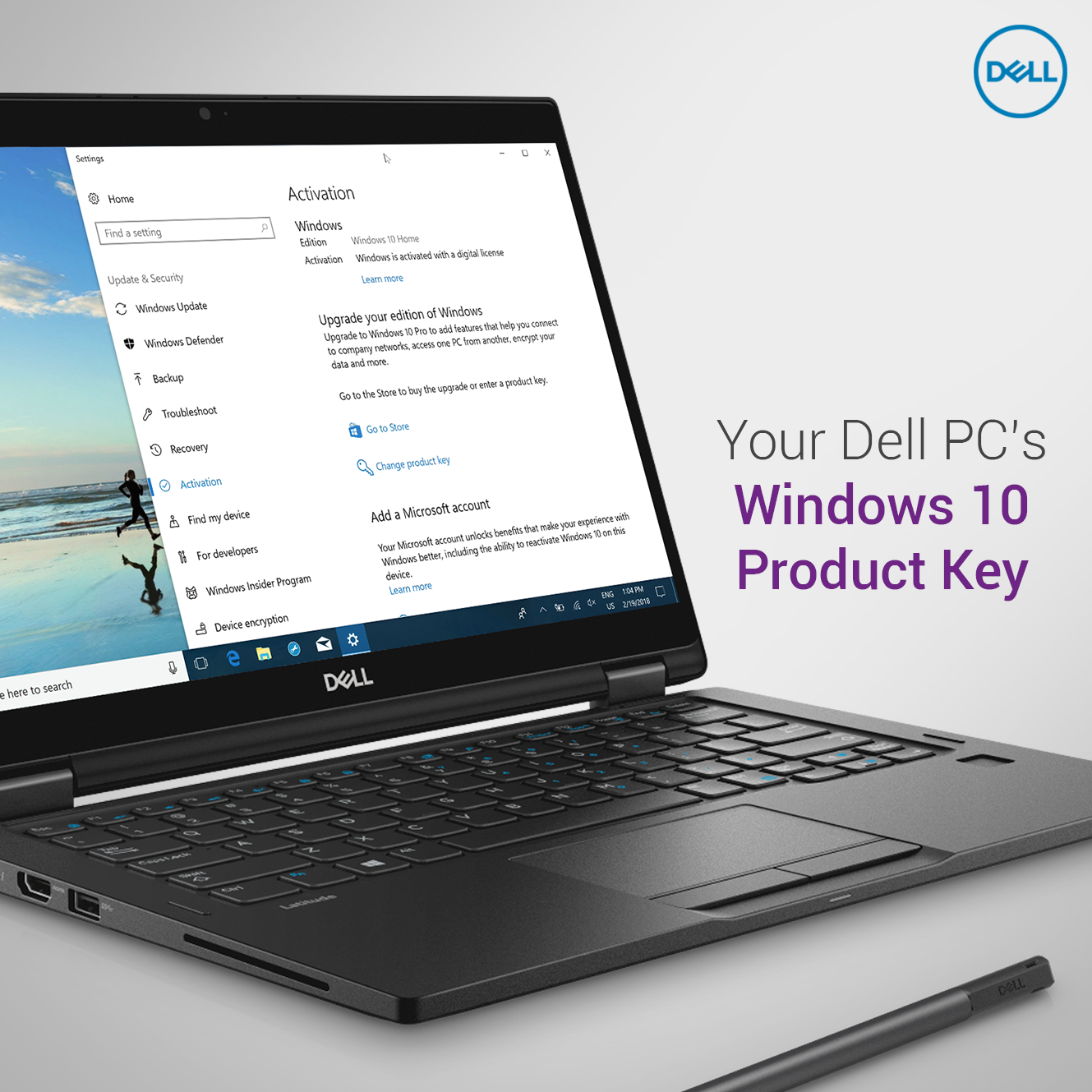 find windows 10 product key dell laptop