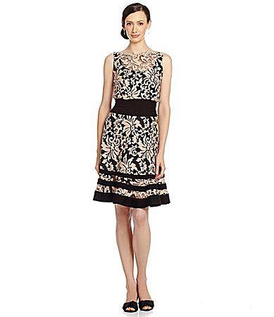 Tadashi Illusion Lace Blouson Dress
