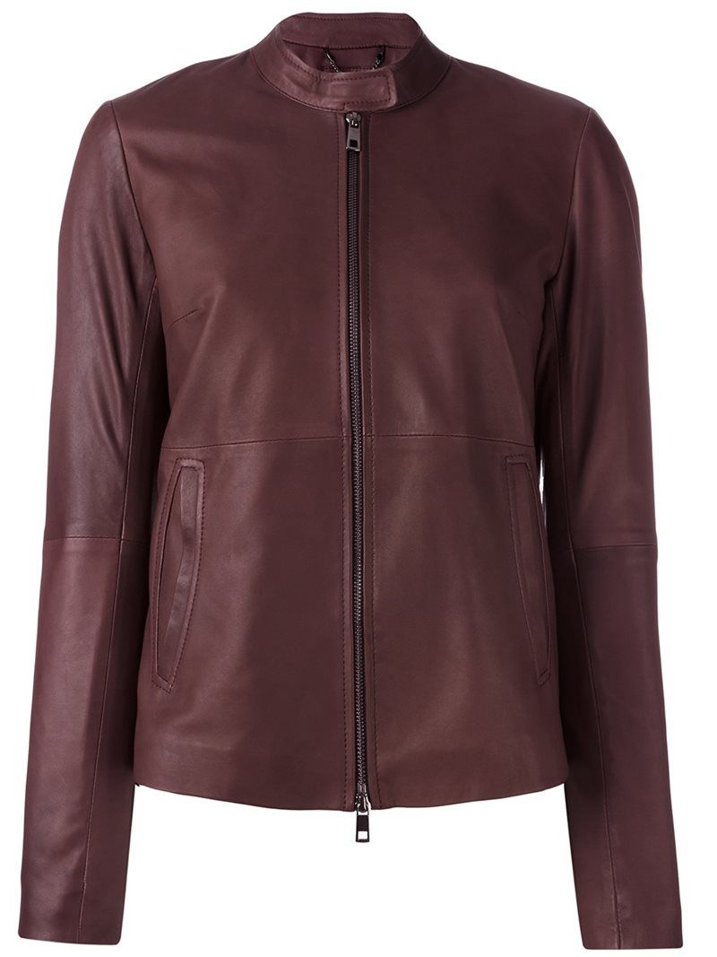 ¡Cómpralo ya!. Desa Collection - Zip Up Cropped Jacket - Women - Leather/Acetate/Viscose - 36. Dark purple leather zip up cropped jacket from Desa Collection. Size: 36. Color: Pink/purple. Gender: Female. Material: Leather/Acetate/Viscose. , chaquetadecuero, polipiel, biker, ante, antelina, chupa, decuero, leather, suede, suedette, fauxleather, chaquetadecuero, lederjacke, chaquetadecuero, vesteencuir, giaccaincuio, piel. Chaqueta de cuero  de mujer color púrpura de DESA COLLECTION.