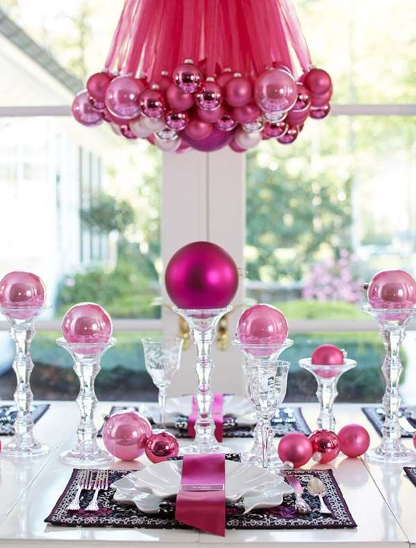 Pink Christmas Table Decoration Ideas5 Jpg 600 790 Pink Christmas Decorations Christmas Chandelier Christmas Table Decorations Diy