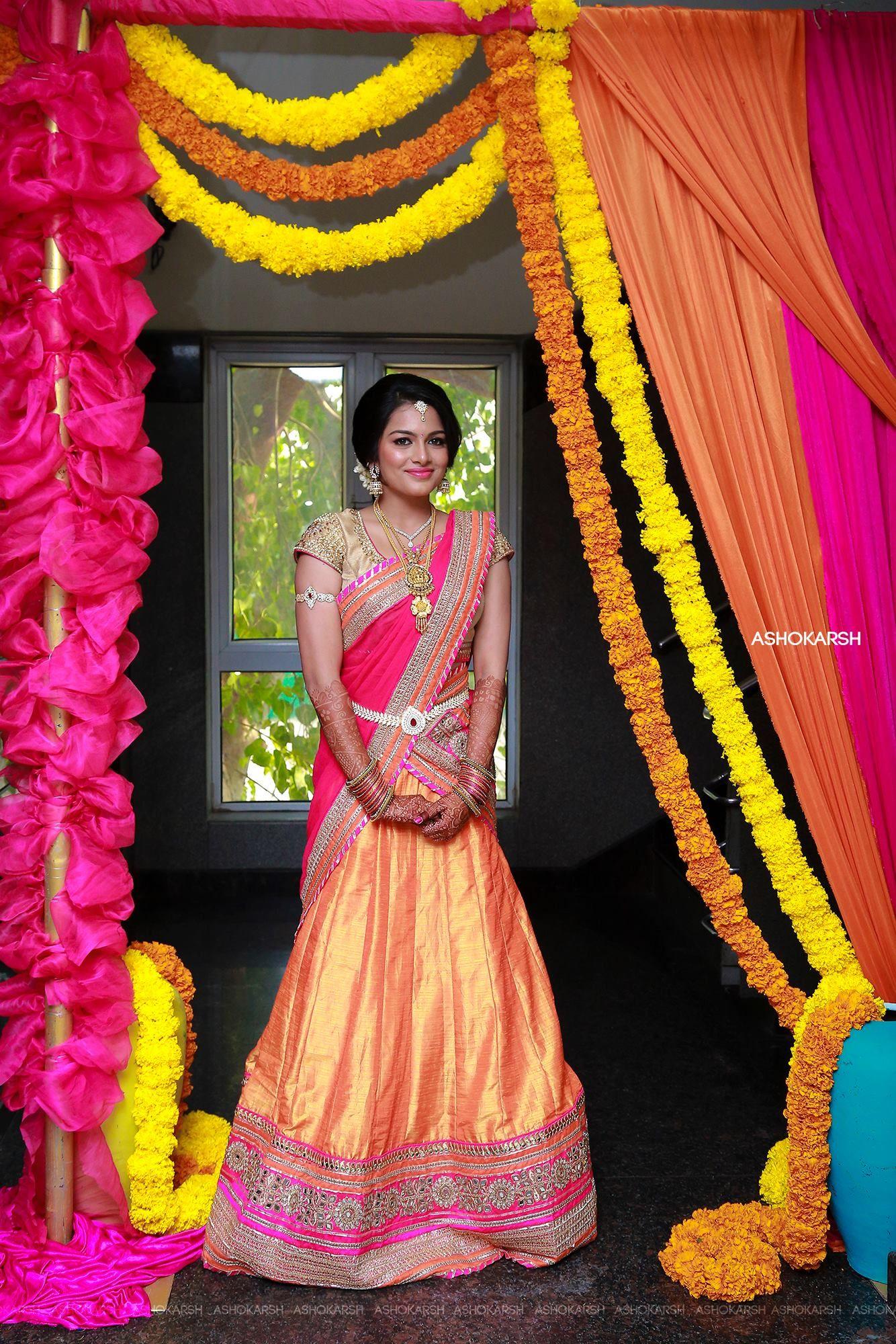 Wedding's Half saree function, Modern saree, Half saree