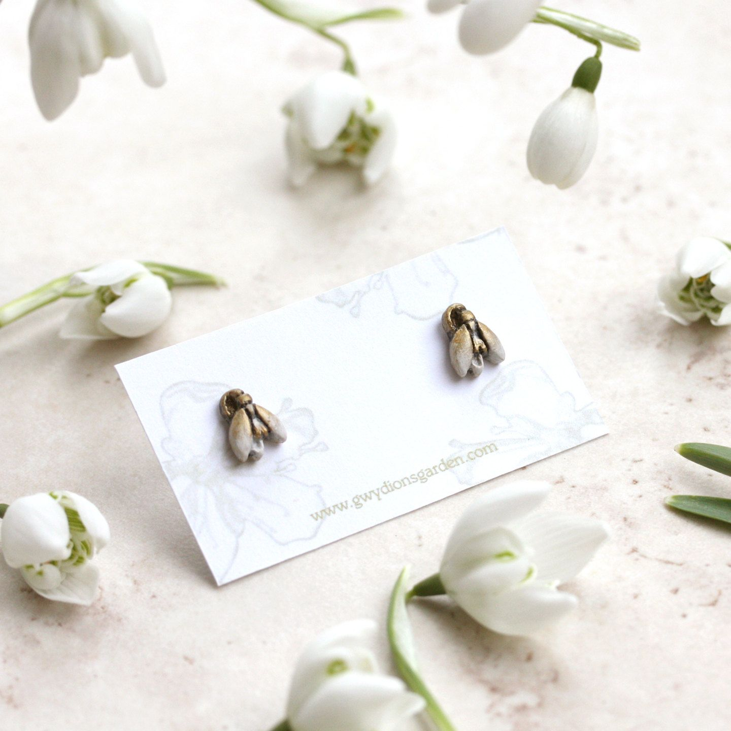 Snowdrop Earrings, Spring Flower Studs, Imbolc Jewelry, Tiny Snowdrops, Botanical Earrings, Snow Drop Posts, Candlemas Jewellery, Snowdrops by GwydionsGarden on Etsy