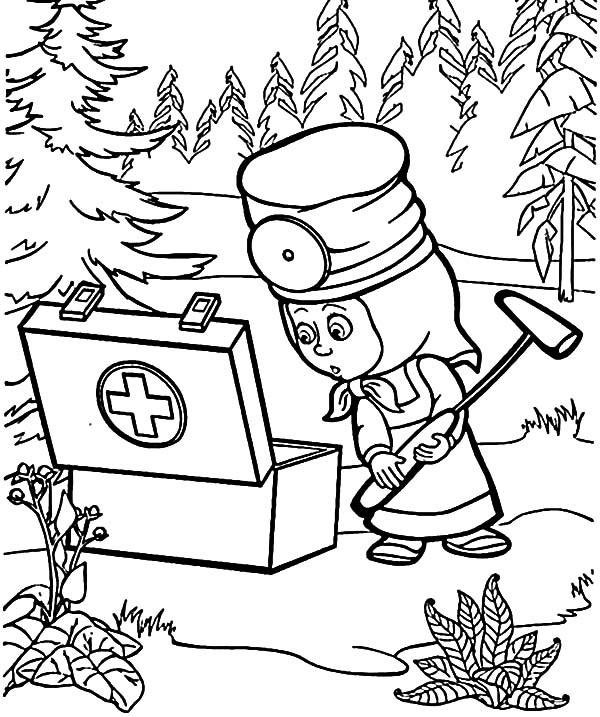 Masha And The Bear First Aid Kit Coloring Pages Color Luna In 2020 Bear Coloring Pages Cat Coloring Book Cartoon Coloring Pages