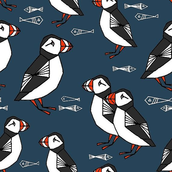 ORGANIC SWEATSHIRT Knit Fabric - Puffin in Dark Blue by Andrea Lauren - Sold by the Half Metre - UK Seller - Presale