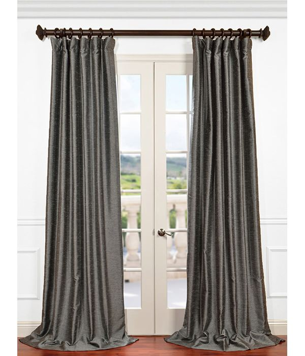 """T1 $384 T2 $512 L1 $640 L2 $768 Salt and Pepper Yarn Dyed Faux Dupioni Silk Curtain 50Wx108L Pole Pocket with Hook Belt & Back Tabs $128 per panel 100% Polyester  With our EXCLUSIVE 3"""" Pole Pocket with Back Tab (Hidden Tab) & Hook Belt Header you can hang this panel various ways. Use the hook belt to hang from rings, the attached back tabs for a formal pleated look or use the traditional pole pocket for a sheered, gathered look. Weighted Hem, Interlined, Lined"""